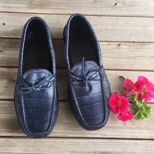 Talbots Gommus Gator embossed Leather Loafers